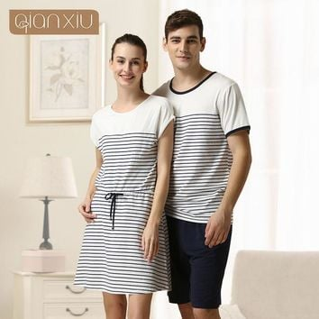 ESBONHS 2016 Special Offer Sale Sashes Striped Gecelik Qianxiu Brand Lingerie Girl Sexy Sleepshirts Cotton Nightgown Kintted Underwear