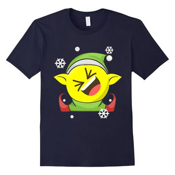 Elf Emoji Christmas shirt smiling face with open mouth