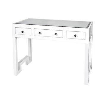 Worlds Away Reece White Lacquer 3 Drawer Desk/Console