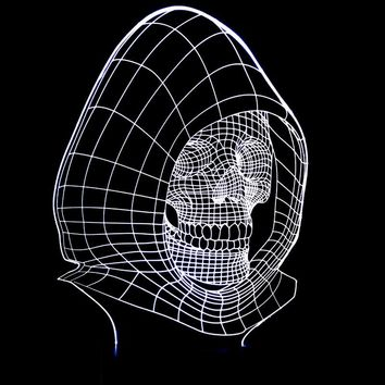 Hooded Skull Head 3D LED Night Light Lamp