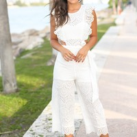 Off White Embroidered Jumpsuit with Ruffles