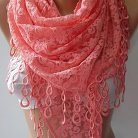 Valentines Day Super elegant scarf  Lace scarf...peach