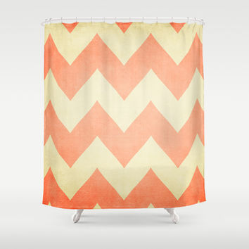 Fuzzy Navel - Peach Chevron Shower Curtain by CMcDonald