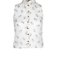 Teens White Pug Print Sleeveless Blouse