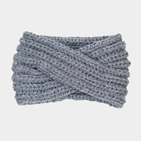 Women's Light Grey Soft Knit Twist Ear Warmer Headband Head Wrap  Winter Accessories Headbands