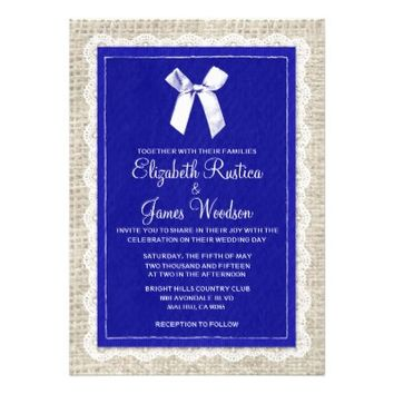 Royal Blue Country Burlap Wedding Invitations