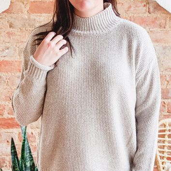 High Neck Pullover Sweater- Oatmeal