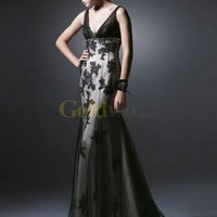 Vintage Style Deep V-Neck Embroidery Satin Net Evening Gown