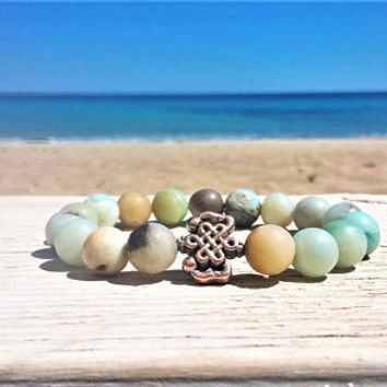 Amazonite mala beads bracelet, wrist mala, courage and good luck bracelet, yoga bracelet, Throat Chakra gemstone bracelet, stacking bracelet