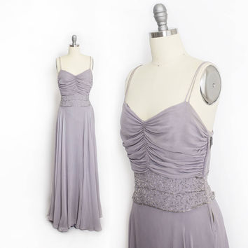 Vintage 1930s Dress - Ash Violet Chiffon Beaded Full Length Gown - Small