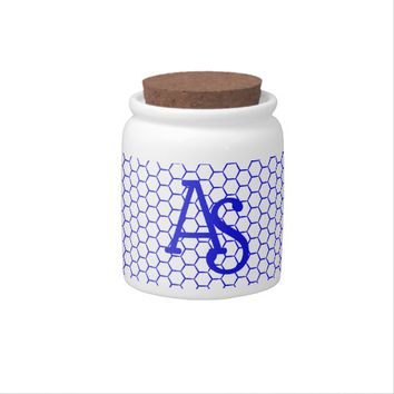 Blue pattern. Hexagonal grid. Monogram. Candy Jar