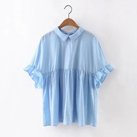 Tangada Japanese Fashion Women Summer Vintage Blue Blouse Butterfly Sleeve Peter Pan Collar Back Bow Loose Casual Tops QB82