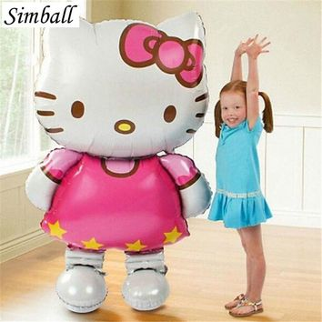 Hot Sale 80x48cm Hello Kitty Cat Foil Balloon Inflatable Cartoon Air Balloon Wedding Birthday Party Decoration Balloons Supplies