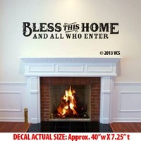 "LARGE ""Bless This Home"" Wall Décor Sticker Die-cut Vinyl Decal - Western - Country - Rustic - Vintage (48""x9"")"