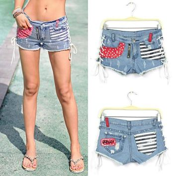 WOMEN STARS STRIPES USA PANTS FLAG DENIM JEAN SHORTS
