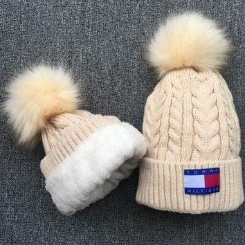 Winter The New Tommy Hilfiger Soft Knit Beanies Hat Cap With Velvet