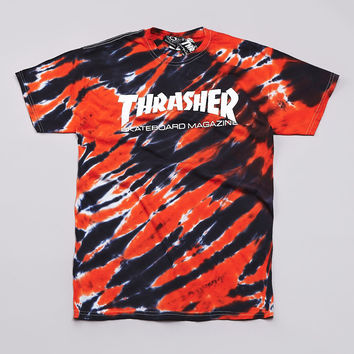 Flatspot - Thrasher Skate Mag Logo T Shirt Tiger Stripe / Orange