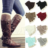Women Lady Crochet Lace Knitted Boot Cuffs Toppers Warm Leg Warmers Boot Socks