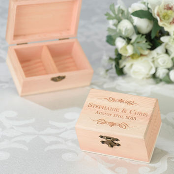Engraved Wooden Ring Bearer Box (5 Designs)
