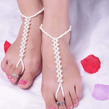 Fashion Beach Pearl Handmade Bead Elasticity with anklet