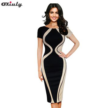 Oxiuly Womens Elegant Optical Illusion Color Block Contrast Patchwork O-Neck Bodycon Work Casual Ladies Office Wear Pencil Dress