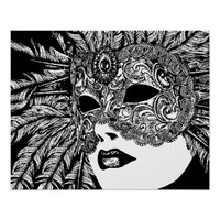 Woman Wearing Feather Maquerade Mask Art Poster