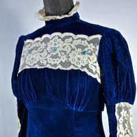 Victorian Revival Maxi Blue Velvet Dress Ivory Lace Mod 60's Juliet 60's Empire Waist Size Small Tie Back Bow