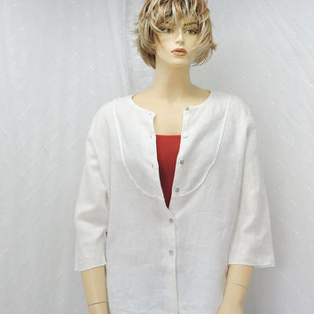 White linen blouse / size L / button front loose fit white linen tunic top / boho / minimalist / casual linen blouse, made in USA