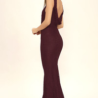 Magic in the Air Burgundy Lace Maxi Dress