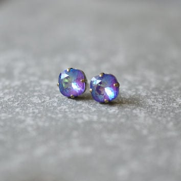 Purple Aurora Borealis Earrings Swarovski Crystal Purple Rainbow Square Stud Earrings Rounded Square Mashugana