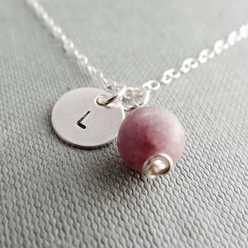 Initial necklace, silver pendant, Quartz necklace, personalised jewellery, gift for her, bridesmaid necklace, lilac necklace