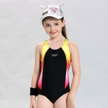 2017 New Children Swimwear Kids Patchwork Sports Swimming Clothes One Piece Baby Toddler Swimsuit Girls Bathing Suits Beachwear