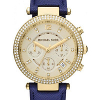 Michael Kors Ladies Champagne Dial and Leather Strap Watch