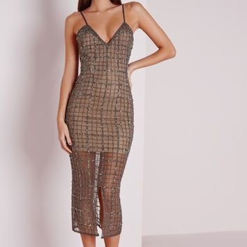 Missguided - Premium Grid Embellished Midi Dress Grey