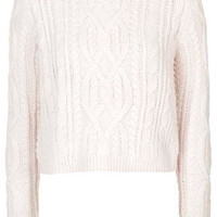Shrunken Cable Knit Sweater - Pale Pink