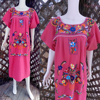 Vintage Pink Mexican FIESTA Dress, Embroidered FLORAL Puebla Peasant Dress, Size M/L