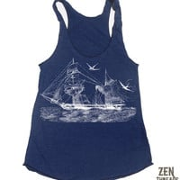 Womens Vintage STEAMSHIP american apparel TriBlend by ZenThreads