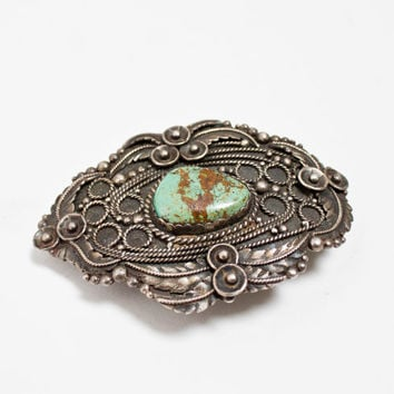Vintage 1960s STERLING Belt Buckle - Turquoise Native Southwest Mexican Native 1960s