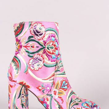 Floral Brocade Block Heeled Booties | UrbanOG