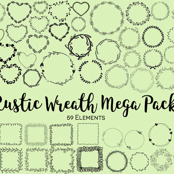 FLORAL WREATHS MEGA pack, hand-drawn clipart, hand-drawn wreaths, doodle clipart, floral wreaths, rustic, png, svg, vector wreaths, wedding
