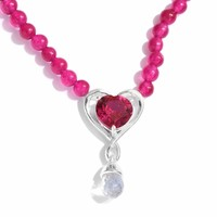 Ruby Heart Sterling Silver Pendant and Necklace