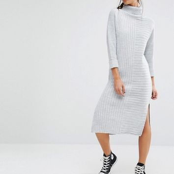 Boohoo Roll Neck Knitted Sweater Dress at asos.com