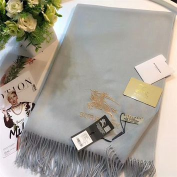 Luxury Burberry Keep Warm Scarf Embroidery Scarves Winter Wool Shawl Feel Silky And Delicate - Grey