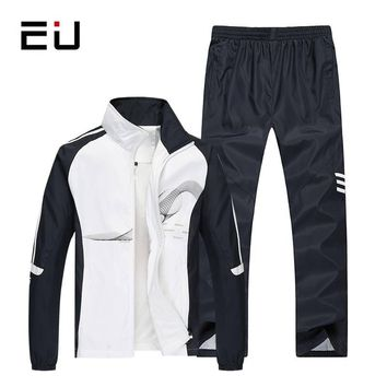 EU 2017 New Fashion Spring Autumn Men Sportswear 2 Piece Set Sporting Suit Jacket+Pant Sweatsuit Men Clothing Tracksuit Set