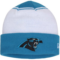 Carolina Panthers New Era Cuffed Two-Tone Knit Hat - White/Panther Blue