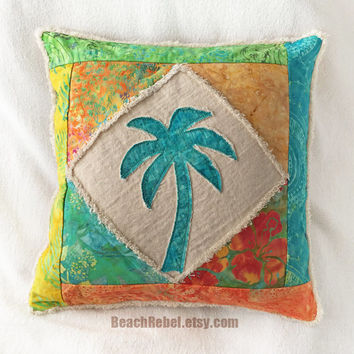 Palm tree boho pillow cover patchwork with teal, green, orange, yellow and turquoise batiks and natural distressed denim 16""