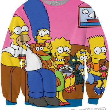 Simpsons Family Couch Crewneck Sweatshirt