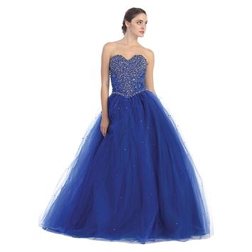 Long Studded Corset Bodice Royal Blue Cotillion Ball Gown