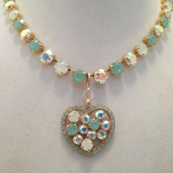 swarovski CRYSTAL NECKLACE  in pacific opal, AB, and white opal. bridal, bridesmaid .