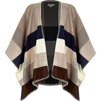 Girls grey check blanket cape